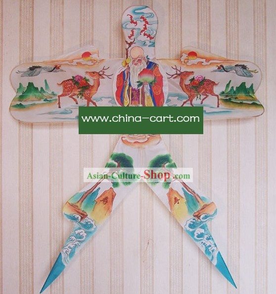 Chinese Classical Hand Painted and Made Swallow Kite - God of Longevity