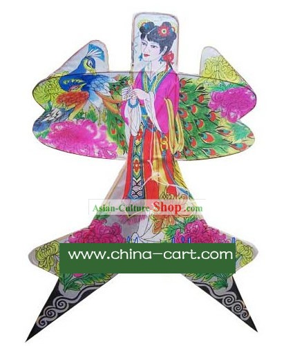Chinese Classical Hand Painted Kite - Diao Chan and Peacock