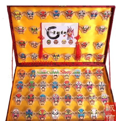 Chinese Traditional Weifang Hand Painted and Made 64 Kites Set - 64 Opera Masks