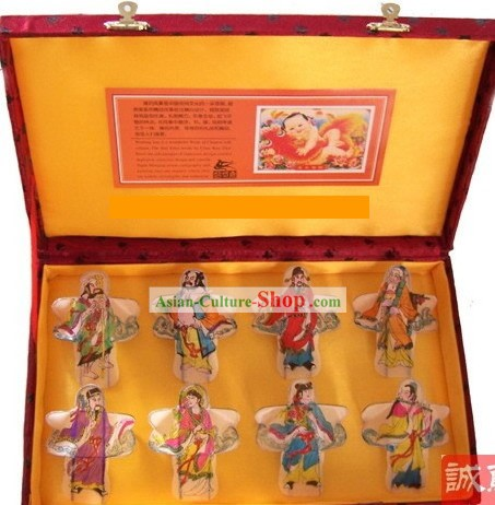 Chinese Traditional Weifang Hand Painted and Made 8 Kites Set - the Eight Immortals