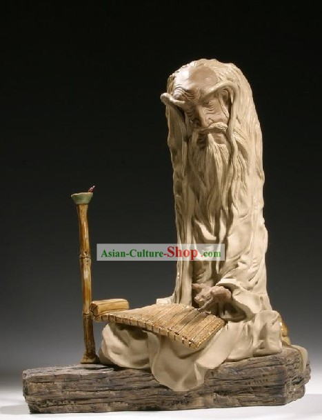 Chinese Classic Shiwan Ceramics Statue Arts Collection - Reading