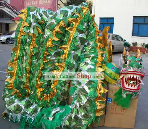 Chinese Classic Net Dragon Dance Equipments Complete Set (green)
