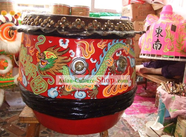 Hand Painted Dragon Drum and Drumsticks Set/Lion Dance Drum Set/Dragon Dance Drum Set