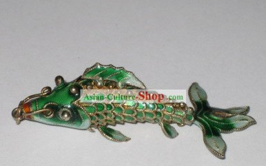 Chinese Traditional Cloisonne Silver Handicraft- Green Goldfish