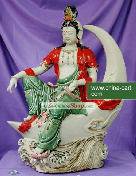 Chinese Classic Shiwan Ceramics Statue Arts Collection - Colorful Water Moon Kwan-yin