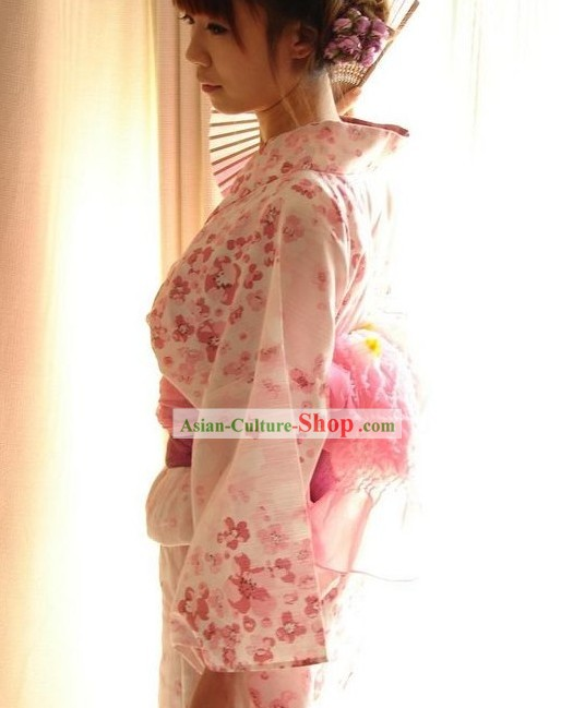 Traditional Pink Flowery Japanese Kimono Handbag and Geta Full Set