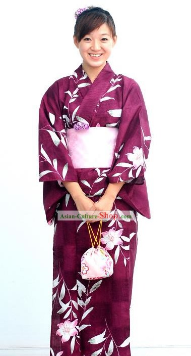 Traditional Purple Flowery Japanese Kimono Handbag and Geta Full Set