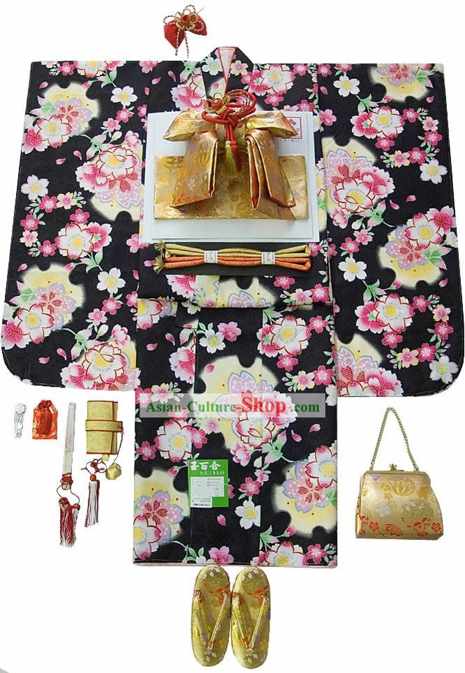 Supreme Traditional Japanese Kimono 14 Pieces Full Set for Seven Years Girl