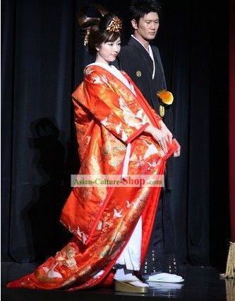 Traditional Japanese Japanese Wedding Kimono Full Set for Bride