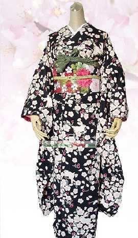 Supreme Japanese Silk Flowery Kimono Attire Handbag and Geta Full Set