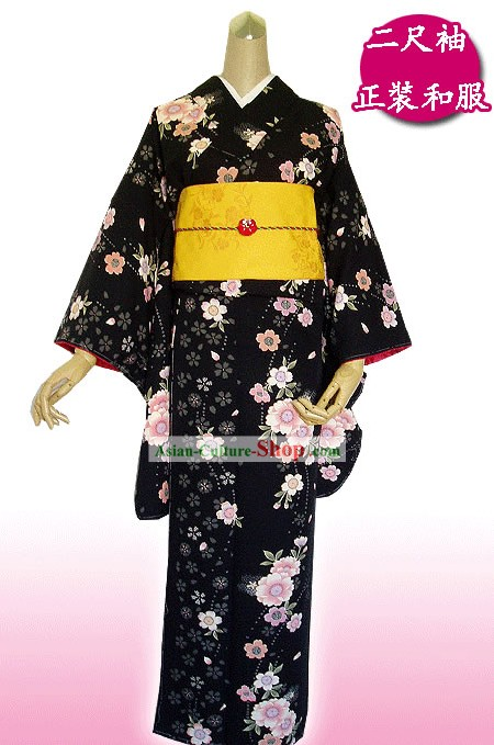 Traditional Japanese Black Flowery Kimono Handbag and Geta Full Set