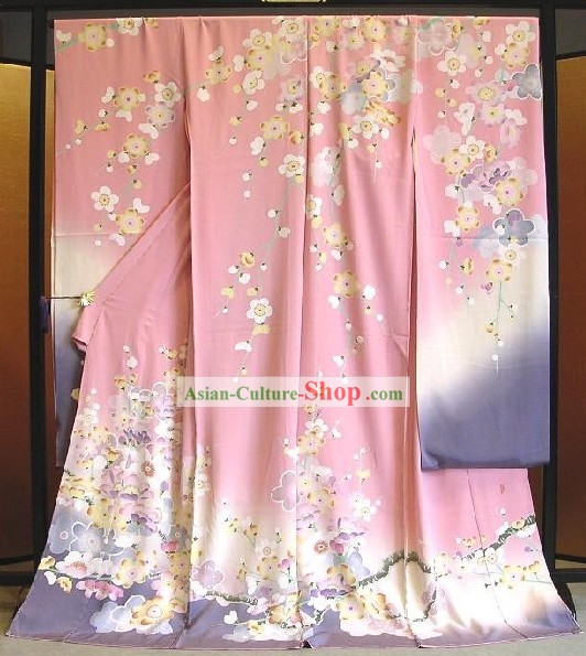 Traditional Japanese Pink Flowery Kimono Handbag and Geta Full Set