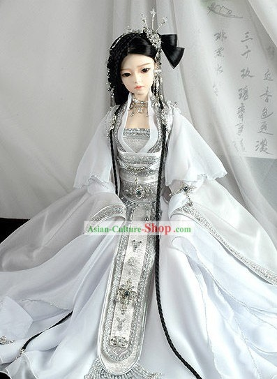 Supreme Chinese White Wedding Bride Veil and Hair Decoration Complete Set