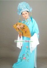 Chinese Traditional Ancient Young Men Costumes Complete Set (light blue)