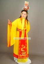 Chinese Traditional Opera Embroidered Emperor Dragon Clothing and Hat Set
