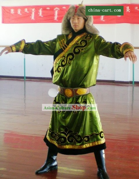 Mongolian Classic Prince Warrior Costumes and Hat