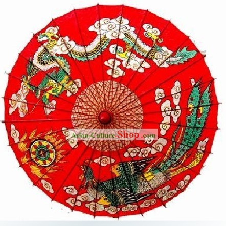 Miao Minority Handmade Dragon and Phoenix Red Umbrella