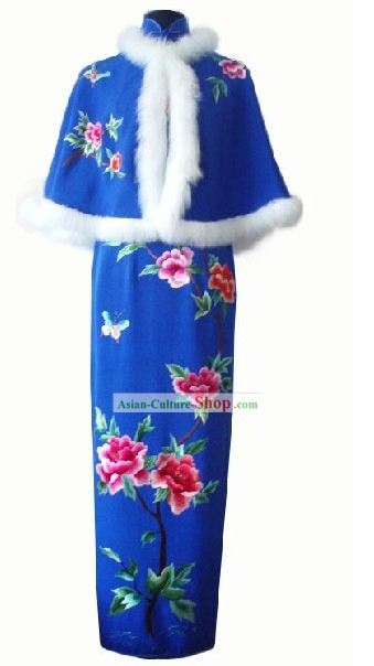 Chinese Traditional Cape and Long Cheongsam Complete Set