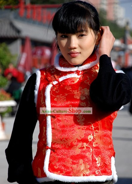 Happy Chinese New Year Lucky Red Cotton Jacket