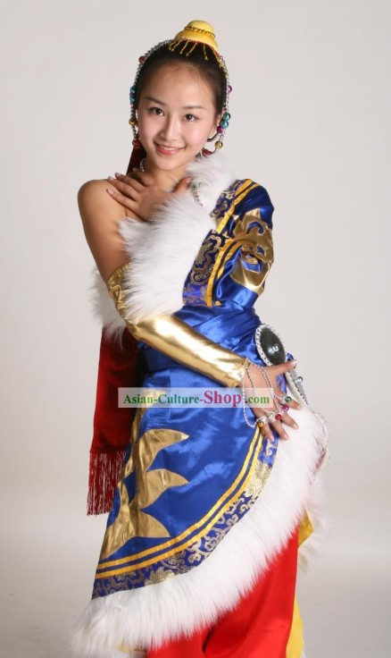 Chinese Classical Tibetan Dance Costume Complete Set