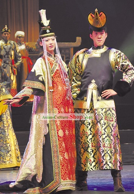 Chinese Classical Mongolian Minority Wedding Dress 2 Complete Sets