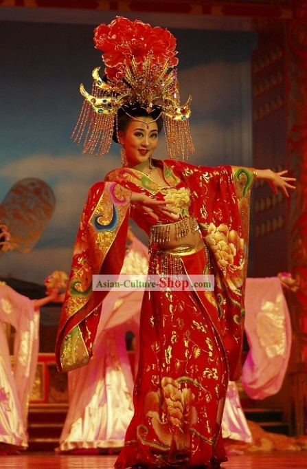 Chinese Ancient Princess Phoenix Clothing and Headdress Complete Set