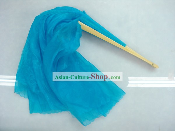 Chinese Traditional Light Blue Silk Dance Fan