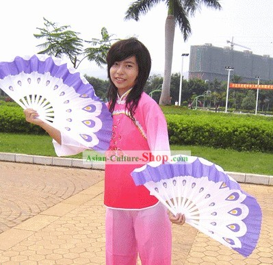 Peacock Folding Purple Double Fans Set
