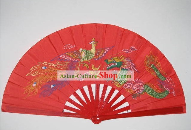 Dragon and Phoenix Red Fan