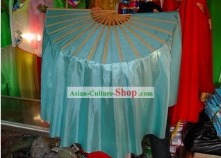 Light Blue Silk Fan with Tail