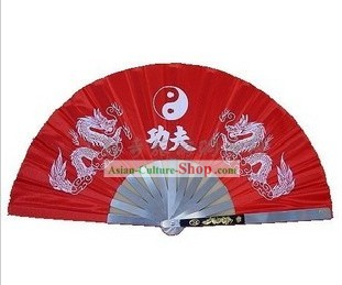 Red Kung Fu Stainless Steel Metal Fan