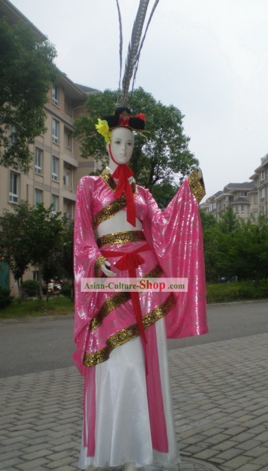 Chinese Ancient Dance Costumes and Long Feather Hat Complete Set