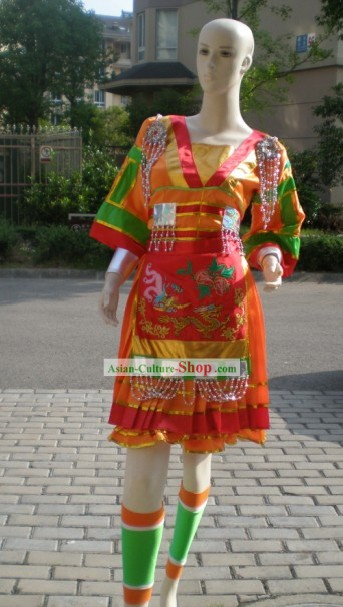 Chinese Minority Fan Dance Costumes