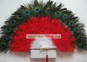 Peacock Feather Dance Fan