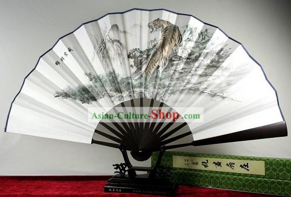 Chinese Handmade Chiffon Tiger Fan