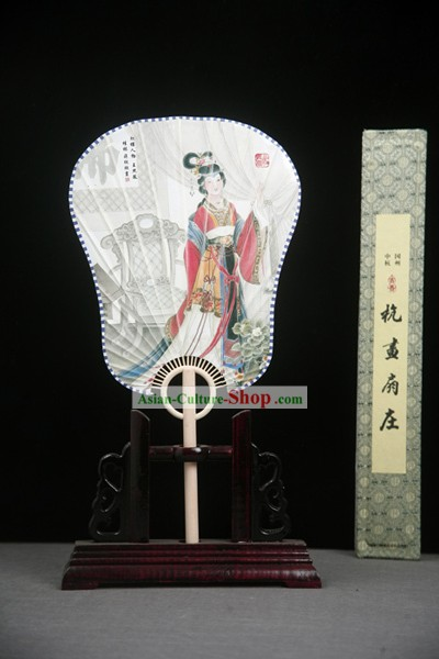 China Ancient Palace Paper Fan with Fan Base and Fan Box