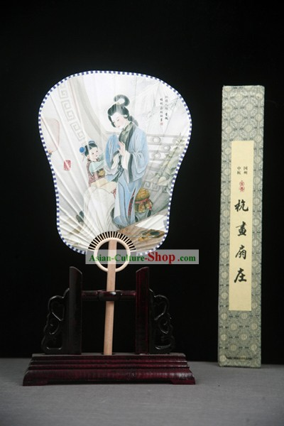 China Ancient Palace Paper Fan with Fan Base