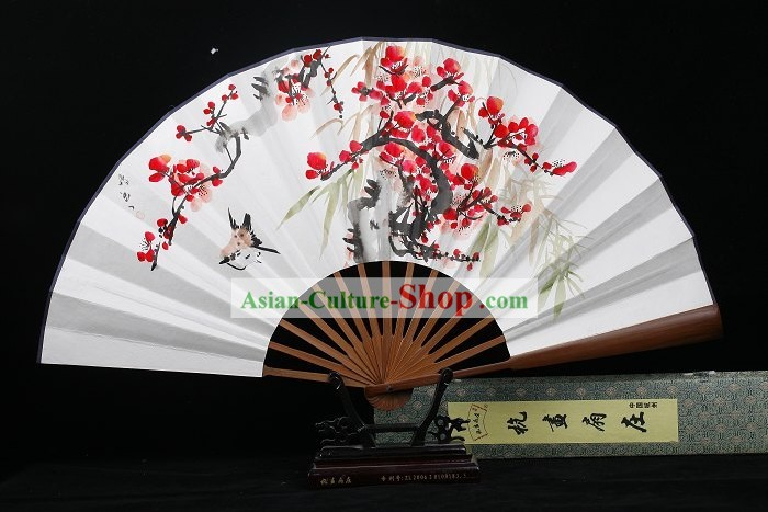 Sparrow and Plum Blossom Hand Painted Folding Fan for Men