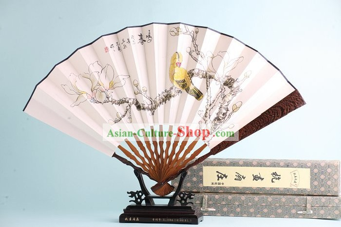 Chinese Hand Painted Rosewood Fan