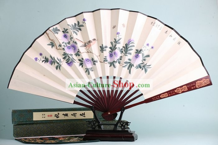 Hand Painted Blackbird Folding Fan