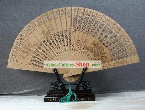 Supreme Chinese Traditional Sandalwood Fan - Plum Blossom and Bamboo