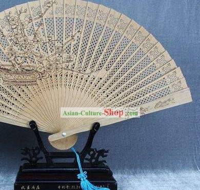 Supreme Chinese Traditional Sandalwood Fan - Plum Blossom