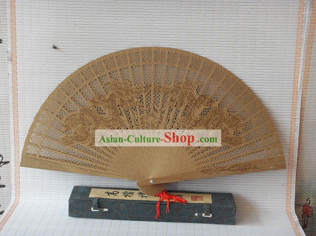Supreme Chinese Traditional Sandalwood Fan - Double Dragons Playing Ball
