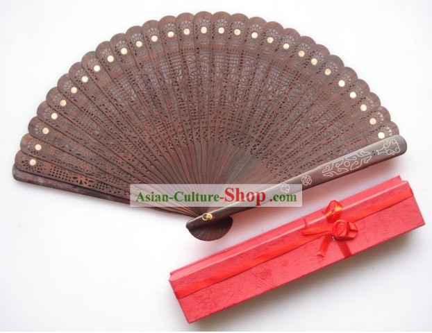 Supreme Chinese Traditional Purple Sandalwood Fan