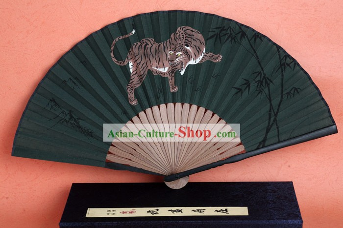 Black Bamboo Handle Silk Tiger Fan