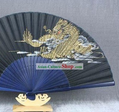 Gold Dragon Silk Fan