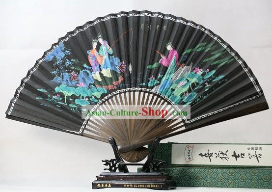 Chinese Hand Painted Fan - Fishing