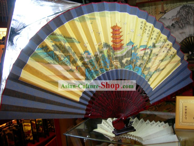 Chinese Large Wall Hanging Fan - Ancient Tower
