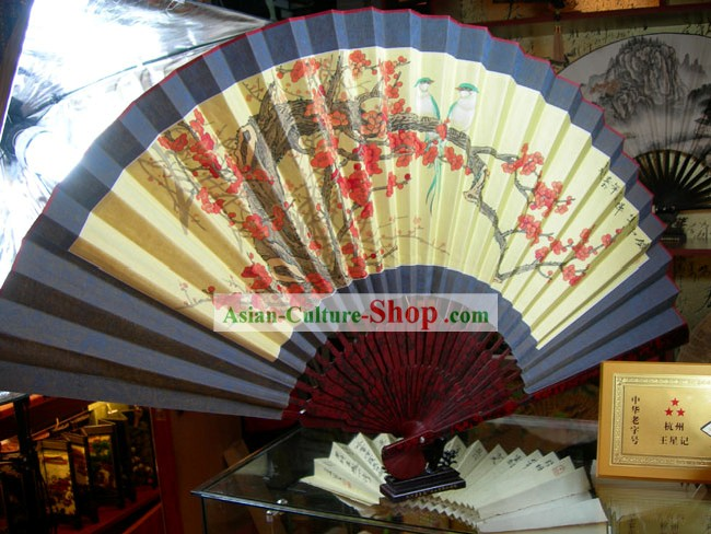 Large Hand Painted Wall Fan - Love Birds