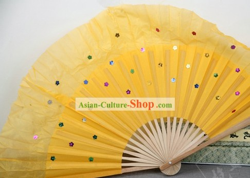 Chinese Bamboo Handle Pure Silk Yellow Dance Fans with Sequins
